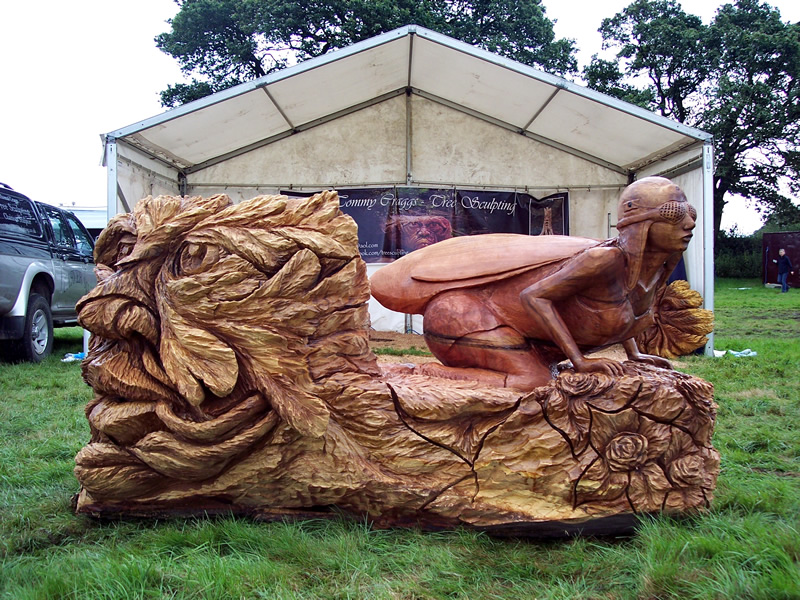 Faerie >> Chainsaw Carving Aviator Faerie Bench