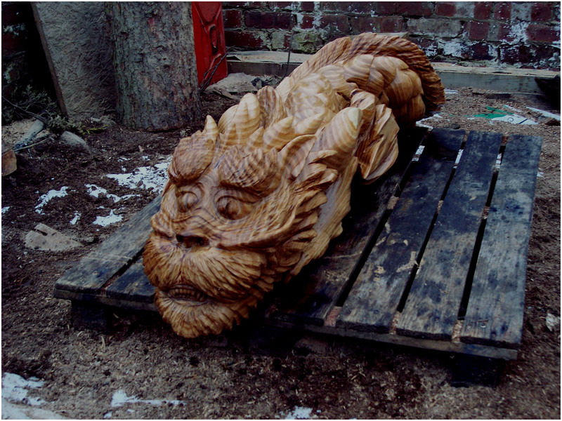 picture of dragon fish carving