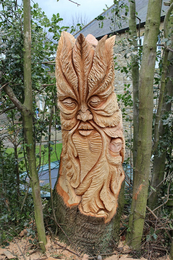 Chainsaw carving fern man