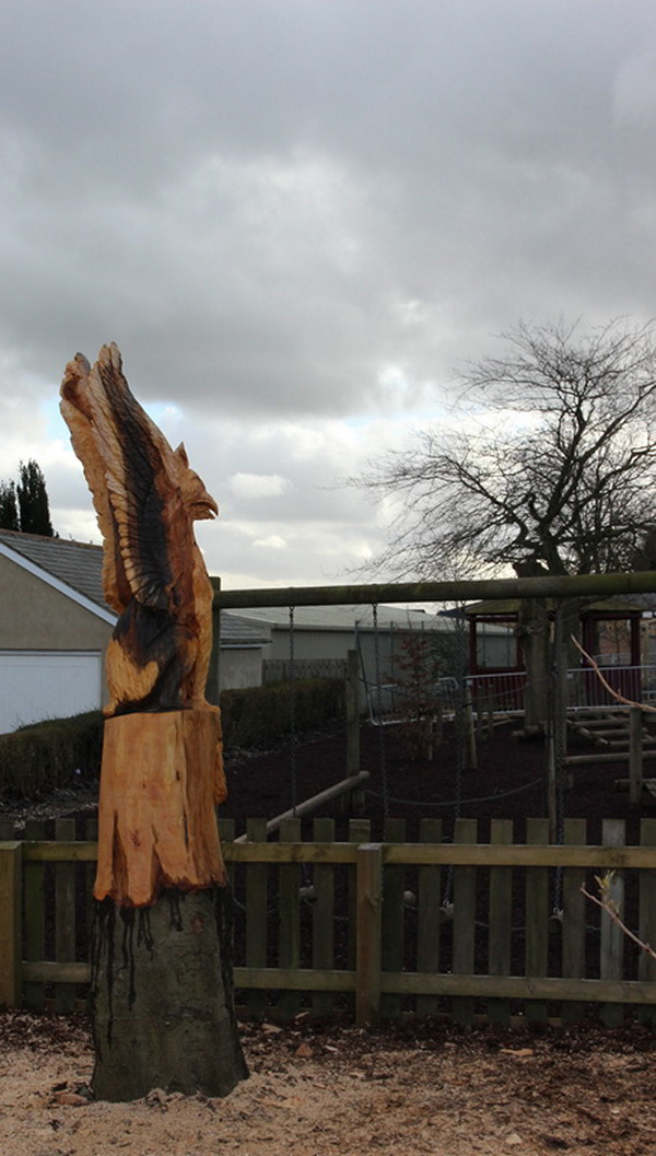 Chainsaw carving griffin