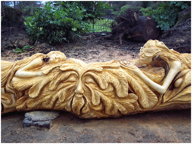 picture of meliai bench carving